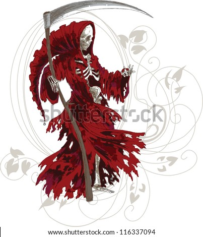 Grim Reaper in red cloak with scythe