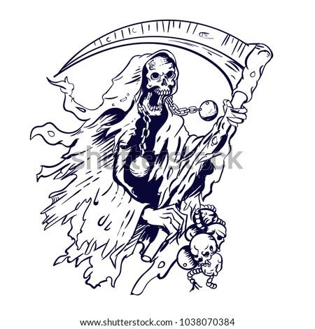 Stock Photo Grim Reaper Line Vector Illustration