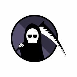 Grim Reaper Logo, Death Scythe Logo, Cute Grim Reaper Logo Vector