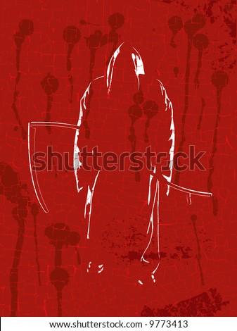 Grim reaper on red grunge a background