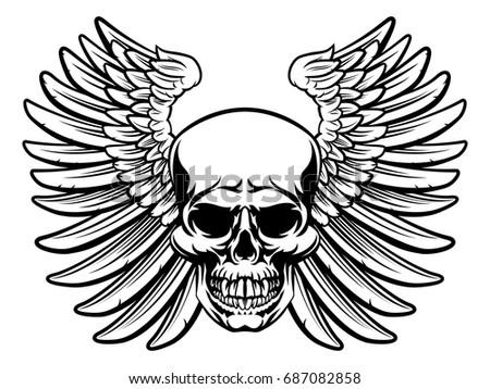 grim reaper winged skull