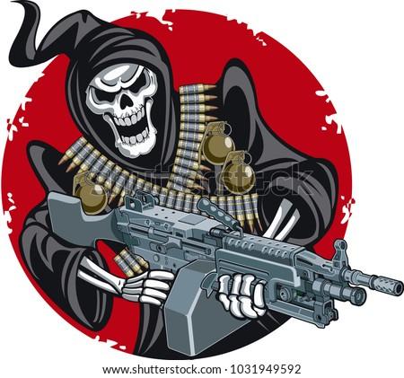 grim reaper with machine gun