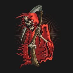 grim reaper with scyth illustration vector graphic
