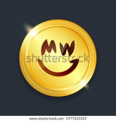 Grin crypto currency digital payment system blockchain concept. Cryptocurrency golden coin isolated on dark background. Vector illustration Stock photo ©