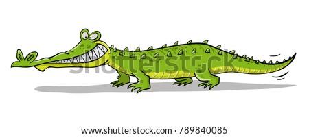 Grining crocodile with teeth