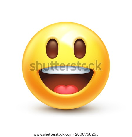 Grinning emoji. Happy excited emoticon, inspired yellow face with big eyes 3D stylized vector icon Stock photo ©