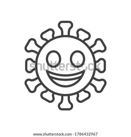 grinning face emoji line icon