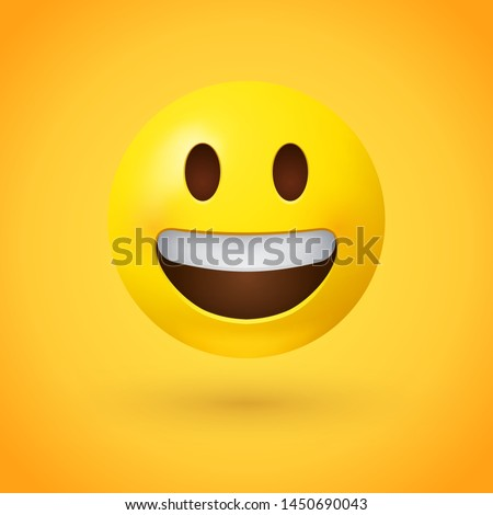 Grinning face emoji with simple, open eyes and a broad, open smile, showing upper teeth - smiling emoticon character design