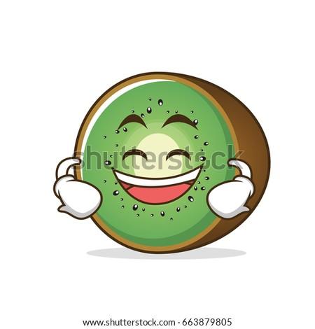 grinning kiwi fruit cartoon