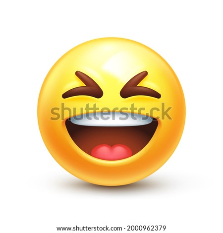 Grinning squinting emoji. Laughing XD face, big grin emoticon 3D stylized vector icon Stock photo ©