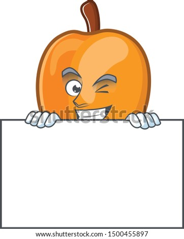 Grinning with board apricot cartoon character for nutritious maskot