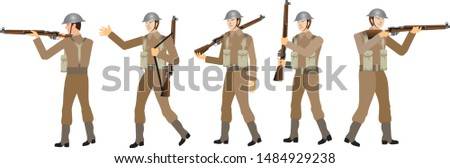 Gritish Army WW2 Army Set, World War Two Soldier - Vector