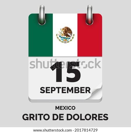 Grito de Dolores,Mexico- September 15, days of year, flat realistic calendar icon Grito de Dolores vector image with Mexico flag Foto stock ©