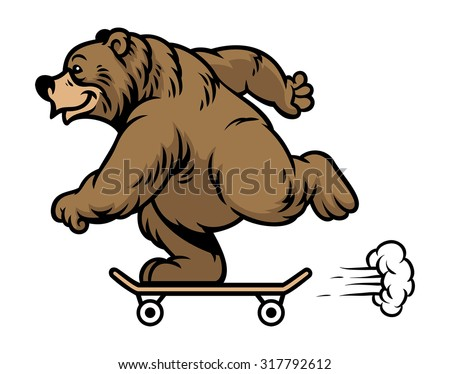 grizzly bear riding skateboard