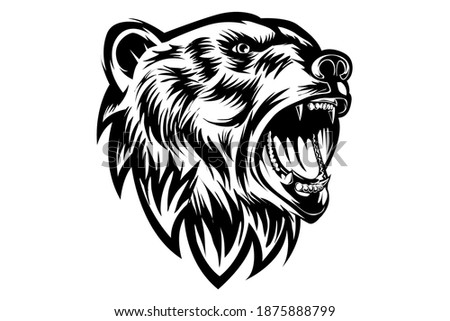 grizzly bear roaring blak white