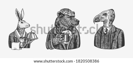 Grizzly Bear with a beer mug. Hare or Rabbit waiter bird. Fashion animal character. Hand drawn sketch. Vector engraved illustration for label, logo and T-shirts or tattoo.