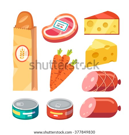 Groceries. Fresh and cooked meat, cheese, and canned food. Modern flat style realistic vector illustration icons isolated on white background.