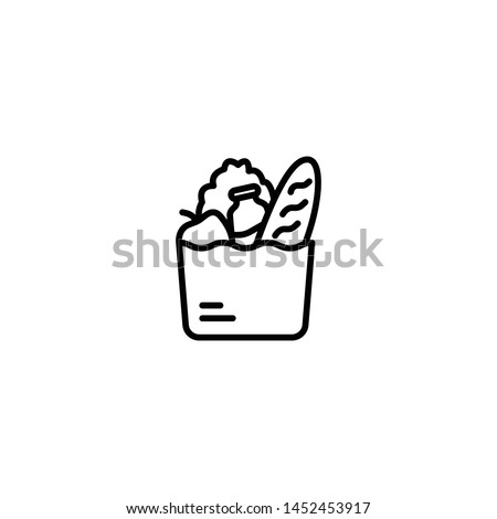 Groceries icon. Full basket of food, grocery shopping icon, special offer, vector sign. Trendy Flat style for graphic design, Web site, UI. EPS10. - Vector illustration
