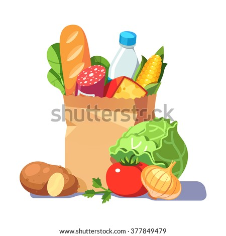 Groceries in a paper bag. Modern flat style realistic vector illustration isolated on white background.