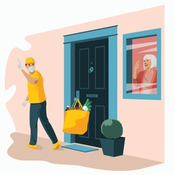 Groceries in bag left at front door. Safe contactless delivery to home to prevent the spread of the corona virus. Concept of senior citizens in quarantine vector illustration. Old woman at window.