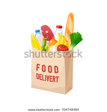 Grocery bag, dairy, meat, oil, veggies and baguette. Vector illustration cartoon flat icon isolated on white.