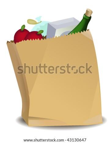 Grocery Bag - Vector Illustration