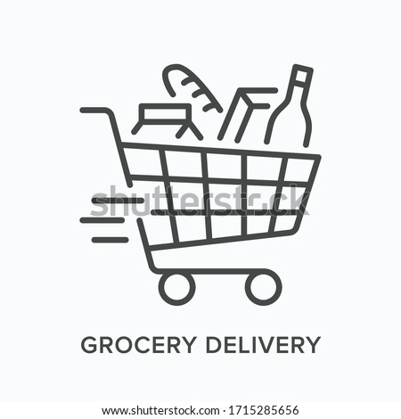 Grocery delivery line icon. Vector outline illustration of store shopping cart. Supermarket equipment pictorgam Foto stock ©
