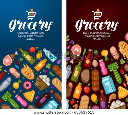 Grocery, food shop, supermarket label. Banner design template. Vector illustration