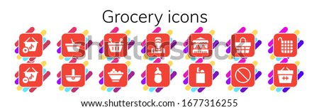 grocery icon set. 14 filled grocery icons. Included Basket, Fruit bowl, Clerk, Aubergine, Grocery, Groceries, Forbbiden icons