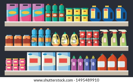 Grocery items, cleaning products bottles and packages on the supermarket store shelves flat cartoon vector illustration. Background of shopping and retail concept.