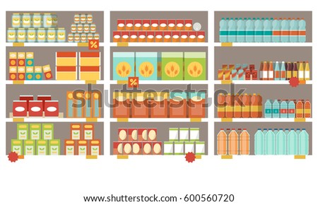 Grocery items on the supermarket shelves and offers, shopping and retail concept