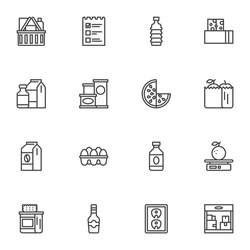 Grocery line icons set, outline vector symbol collection, linear style pictogram pack. Signs, logo illustration. Set includes icons as shopping basket, dairy products, egg, fruit package, water bottle