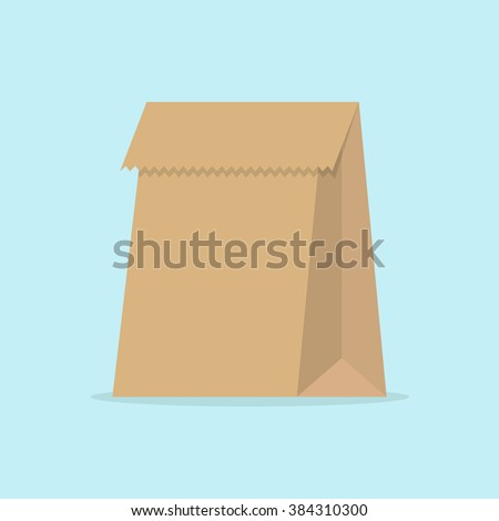 Grocery paper bag vector illustration isolated on background. Brown paper bag for products or food in flat style.