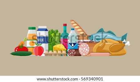 Grocery set. Including meat fish, salad, bread, milk products. Vector illustration in flat style