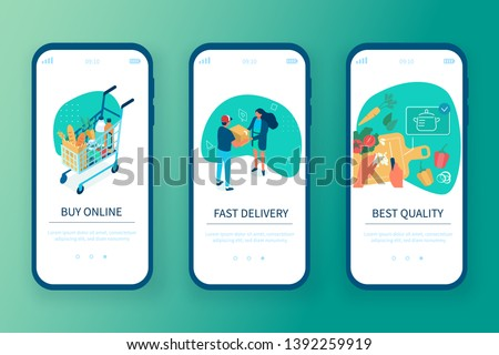 Grocery shop concept templates for mobile app page. Can use for web banner, infographics, hero images. Flat isometric modern vector illustration.