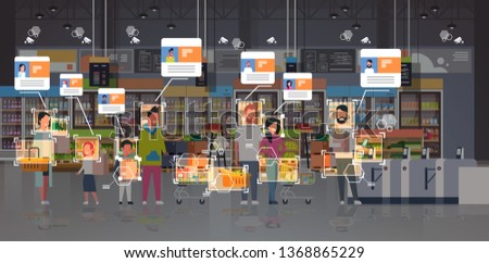grocery shop customers identification surveillance cctv facial recognition concept mix race people standing line queue at cash desk modern supermarket interior security camera system horizontal