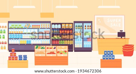 Grocery shop interior. Supermarket with food product shelves, racks with dairy, fruits, fridge with drinks and cashier. Store vector concept