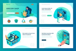 Grocery shop landing page template. Can use for web banner, infographics, hero images. Flat isometric modern vector illustration.