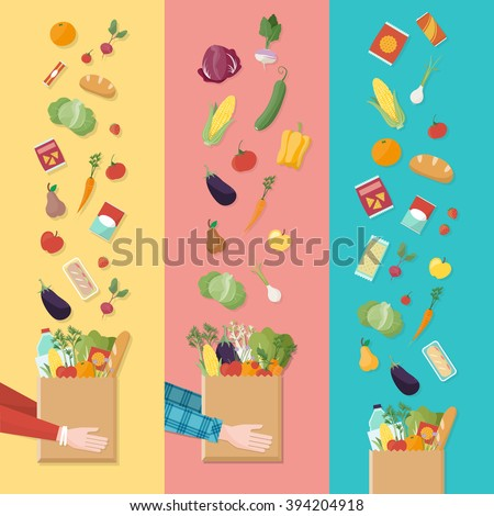 Grocery shopping banners set, consumer's hands holding a shopping bag full of vegetables and products