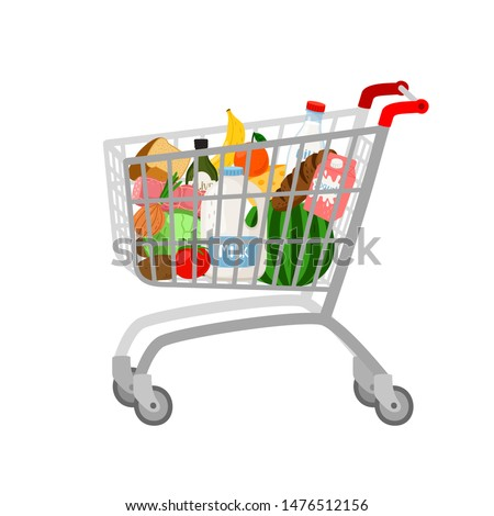 Grocery shopping cart on white. Full supermarket food basket vector illustration, shop cart with groceries goods isolated
