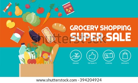 Grocery shopping discount banner, paper shopping bag filled with vegetables, fruits and other products
