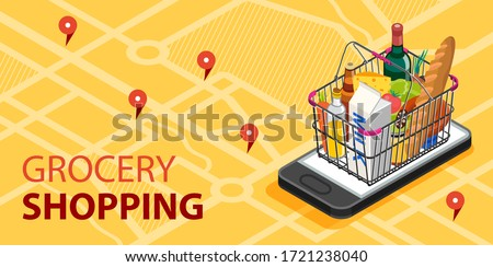 Grocery shopping online concept. Smartphone screen with supermarket basket with fresh vegetables, food and beverage. Modern concept for web banners, web sites, infographics.