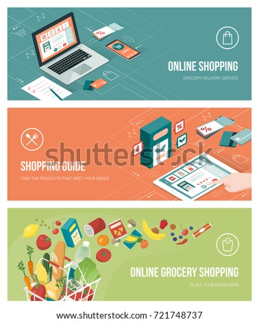 Grocery shopping online using apps on a laptop, smartphone and tablet; healthy eating, retail and technology concept