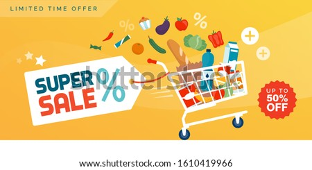 Grocery shopping promotional sale advertisement: fast shopping cart full of fresh colorful food