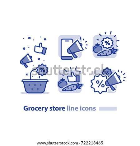 Grocery store basket icon, vegetables discount symbol, promotion megaphone sign, sale bonus coupon logo, good quality products, cheap price offer, low cost tag, vector illustration, line icon set