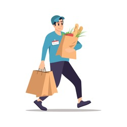 Grocery store delivery flat vector illustration. Male courier with shopping bags isolated cartoon character on white background. Fresh vegetables, food products door-to-door delivery service