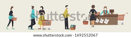 Grocery store during epidemic of virus.Cashier in protective medical mask is behind cash register serves customers who are waiting in line at a safe distance.Teller's workplace in supermarket.Vector