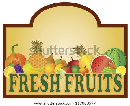 Grocery Store Fresh Fruits Stand Colorful with Room for Text Signage Vector Illustration