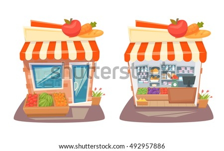 Grocery store front and interior. Cartoon street local retail shop building. Organic food, fruit and vegetable kiosk inside and outside shelves and showcases.