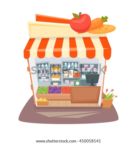 Grocery store interior. Street local retail shop building. Organic food, fruit and vegetable kiosk inside shelves and showcases. Cartoon vector illustration.